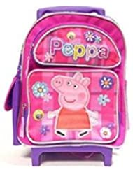 New Peppa Pig Allover Flower Pink Large Rolling Backpack(2281)