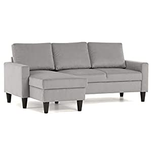 Confort24 Fox Canapé d'angle 3 Places Chaise Longue Reversible Gauche ou Droite (Gris Clair)