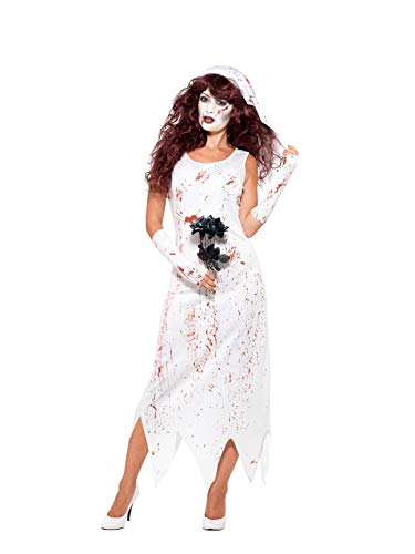 Zombie Bride Costume White With Dress & Veil -