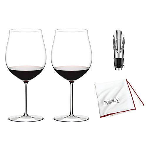 (Riedel Sommeliers Burgundy Grand Cru Wine Glass, Set of 2 Includes Wine Pourer with Stopper and Riedel Polishing Cloth)