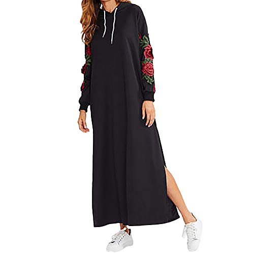 ANJUNIE Pullover Hooded Maxi Dress,Womens Casual Long Sleeve Floral Embroidery Tunic Dress (Black,XL) -
