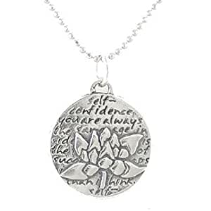 """Small Round Reversible Lotus Flower Pendant with Words of Inspiration on 18"""" Rhodium Plated Sterling Silver Bead Chain, #8227"""