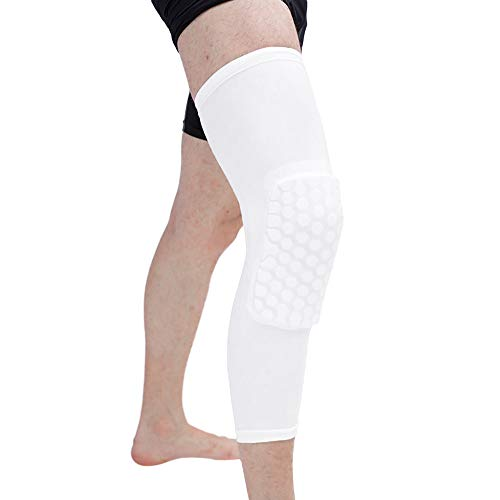 Price comparison product image CapsA Knee Brace for Women Men Sports Basketball Knee Pads Adult Kneepad Football Knee Brace Support Leg Elbow Protect (White,  M)