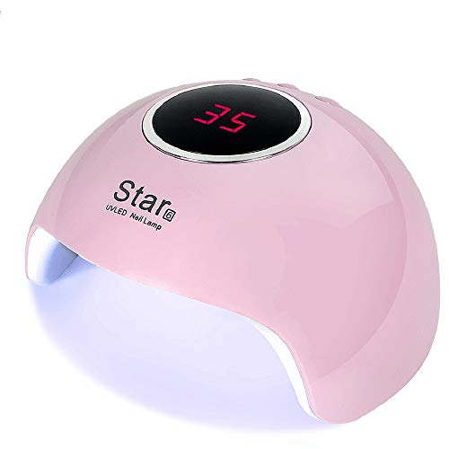 Nail Lamp UV LED Nail Dryer, 36W Nail Polish Curing Lamp with 3 Timer Setting, Automatic Sensor Nail Dryer Lamp with LCD Display Memory & Pause Timer Function for Fingernail & Toenail Nail Art (Pink)
