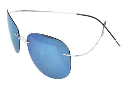 Eyekepper Rimless Titanium Frame Polarized Sunglasses Silver/Blue - Frame Titanium Sunglasses