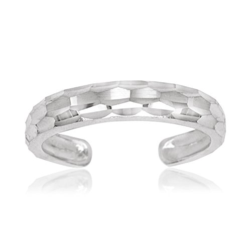 JewelryWeb Solid 10K Yellow or White Gold Adjustable Sparkle-Cut Band Toe Ring (4mm x 15mm) (White-Gold)