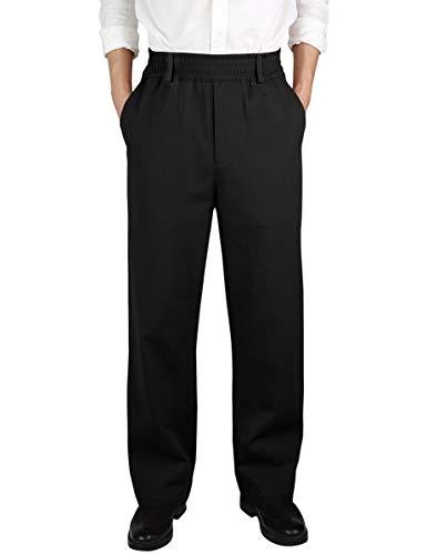 (IDEALSANXUN Men's Casual Relaxed Fit Elastic Waist Twill Pant (Black(Twill), 32))