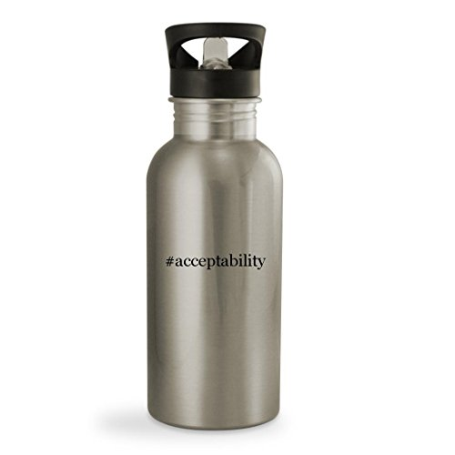 #acceptability - 20oz Hashtag Sturdy Stainless Steel Water Bottle, Silver