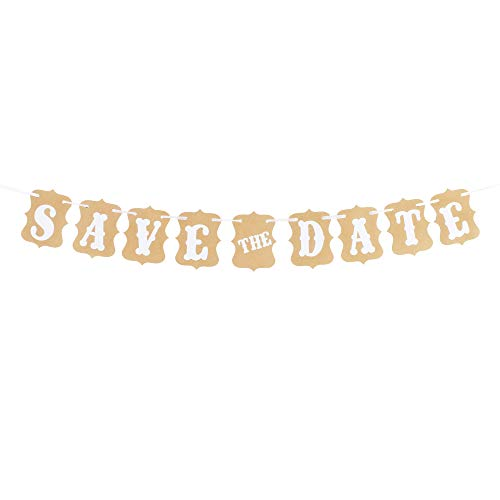Halloween Wedding Save The Date (Save The Date White & Brown Party Bunting Banner Wedding Anniversary Couple Mr and Mrs Photo Prop Decoration Sign)