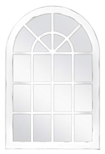 MCS 68873 Countryside Arched Windowpane Wall, White, 24x36 Inch Overall Size Mirror, (Mirror White Window)