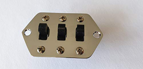 Jaguar Guitar slide switch control plate kit chrome + 3x switches and screws ()