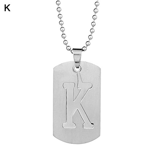(angel3292 Clearance Deals!26 Letters Alphabet Dog Tag Pendant Beaded Chain Stainless Steel Necklace)