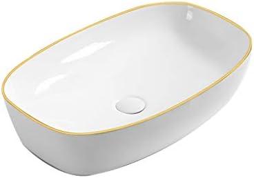 BoPin 浴室洗面台、家庭用セラミック洗面カウンタ上流域浴室洗面台(蛇口ない単一盆地)、60X38X14.5cm ベッセルシンクシンク (Color : White)