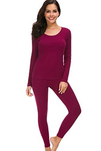 HieasyFit Women's Mid-Weight Cotton Thermal Underwear 2pc Winter Base Layer Set Wine Red XL -