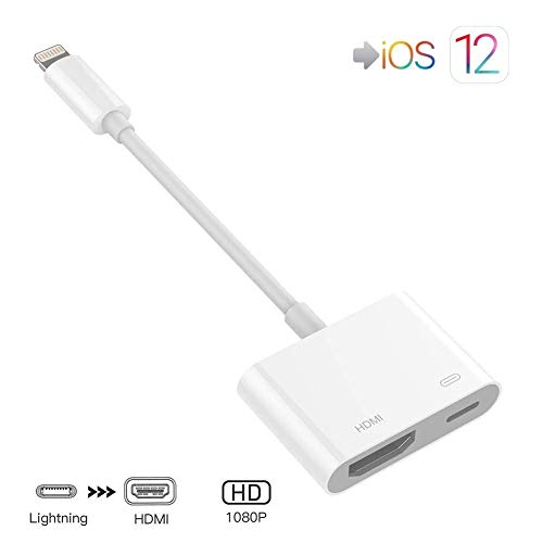 Lighting to HDMI Adapter, Lighting Digital AV Adapter with Lighting Charging Port for HD TV Monitor Projector 1080P Compatible with Phone, Pad and Pod (iOS 11, iOS 12)- White ()