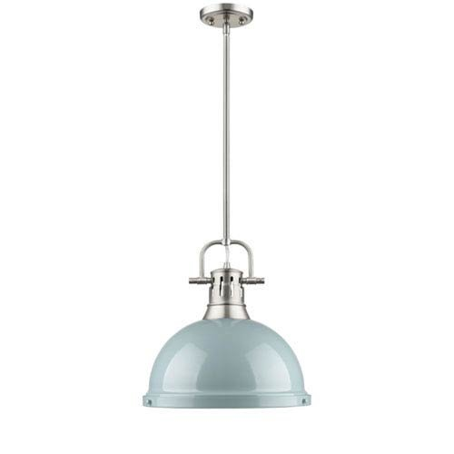 (251 First Quinn Pewter One-Light Pendant with Seafoam Shade)