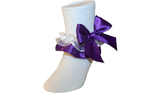 Girls Ruffle Ankle Socks with Satin Organza & Bows in Assorted Colors (3-4.5 Baby, Purple)