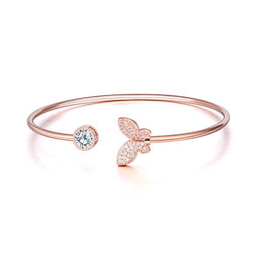 18k Bracelet All Jewelry Fine (WINNICACA Butterfly Bracelet Adjustable Cuff Bracelets Cubic Zirconia Open Bangle Bracelet Fashion Jewelry for Women Girls Girlfriend Wife (Rose Gold))