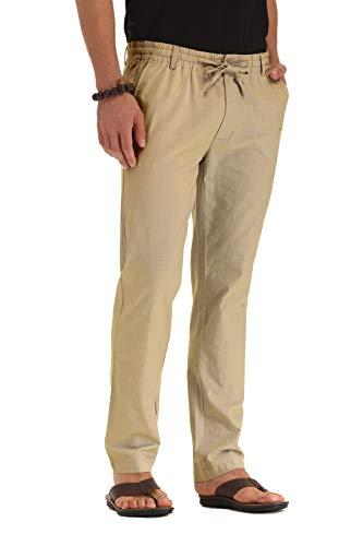 ZYFMAILY Men's Summer Beach Trousers Drawstring Linen Pant Khaki-US 38
