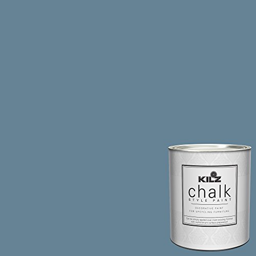 KILZ 00004404 Interior Chalk Style Ultra Flat Decorative Paint for Furniture, 1 Quart, Swedish Blue (Country Paint Blue Color)