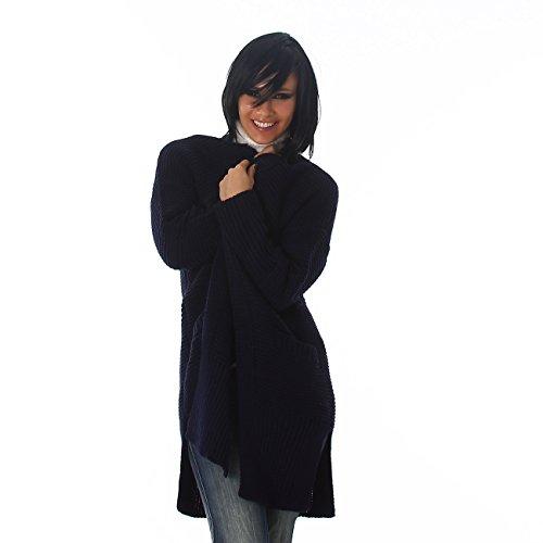 longue Marine tricot Veste chandail grossier Cardigan chemise Jela Londres longue bleu Ladies chandail qxPwZfgz