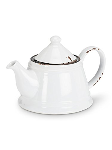 Abbott Collection Enamel Look Stoneware Teapot, White