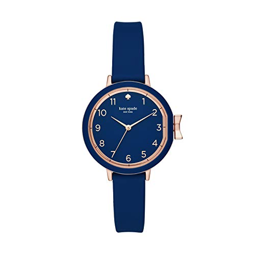 kate spade new york Women's Park Row Silicone Stainless Steel Japanese-Quartz Watch with Strap, Blue, 12 (Model: KSW1353)