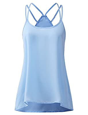 REGNA X BOHO Women's Flowy Sexy Strappy Sleeveless Sheer Summer Cool Chiffon Blouse Tank Tops (3styles)