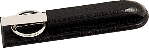 Bey-Berk D1528 Black Croco Leather Library Set. Includes Silver Plated Letter Opener and Scissors,