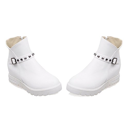 High Heels Soft White Zipper Low Material Women's WeiPoot Solid Boots Top TRwg5E