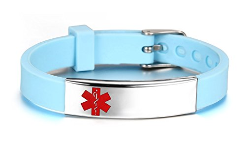 JF.JEWELRY Medical ID Alert Bracelet for Women Silicone Band & Stainless Steel Tag Custom Engraved-Cyan