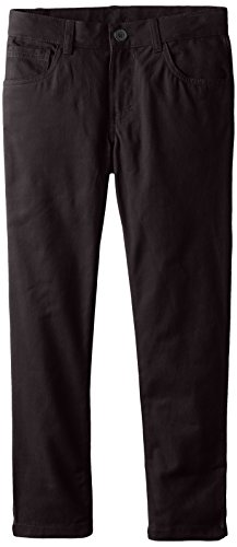 Boys Dress Twill Pant (French Toast Big Boys Slim Fit 5 Pocket Pant, Black,)