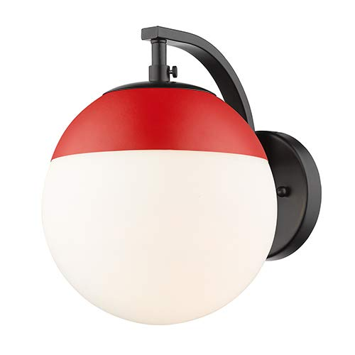 Golden Lighting 3218-1W BLK-RED One Light Wall Sconce