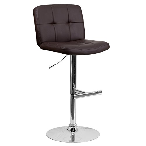 Cheap Flash Furniture Contemporary Tufted Brown Vinyl Adjustable Height Barstool with Chrome Base
