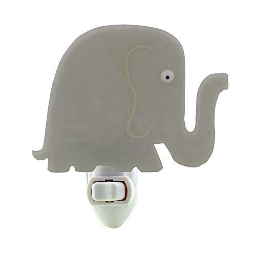 Fused Glass Elephant Night Light (Light Gray)