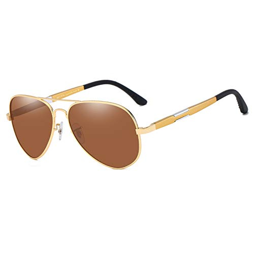 DUCO Pilot Style Oversize Polarized Sunglasses For Outdoor Sports Fishing Golf UV Protection 3026 Gold Frame Brown Lens