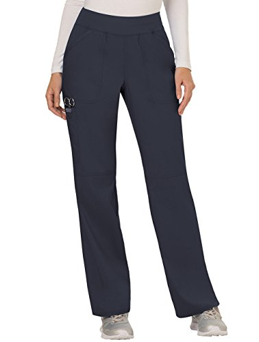Cherokee Women's Mid Rise Straight Leg Pull-on Pant, Pewter, Large ()