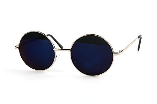 Unisex+John+Lennon+60%27s+Vintage+Round+Hippie+Sunglasses_1+Pcs+%28Silver-BlueMirror+Lens%2C+0%29
