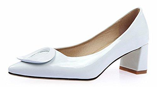 Sfnld Women's Retro Pointed Toe Metal Buckle Slip Ons Block Heel Pumps Shoes White 7 B(M) US by SFNLD