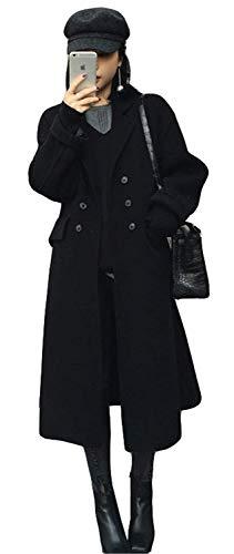 Coat Longues Manches Femme Uni Manteau Double Haute Laine Hiver Qualité Basic Épaisseur Outerwear Parka Warm Manche Boutonnage Revers De Schwarz Vetement wq5t5nITd
