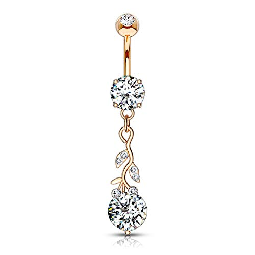 Curved Dangle Belly (MoBody 14G Gemmed Leafs with Large Round CZ Dangle Belly Button Ring Surgical Steel Curved Navel Piercing Barbell (Rose Gold-Tone))