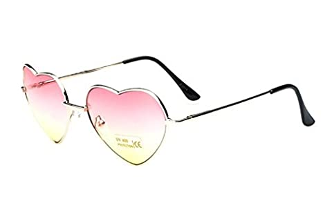 Nuni Women's 014 Metal Colorful Gradient Lens Heart Sunglasses (gold, pink+yellow) - Wire Frame Gradient Sunglasses