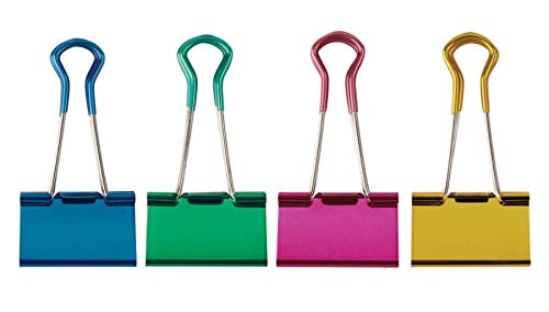 """OfficeMax Grip Binder Clips, Large, 1"""" Capacity, Assorted Colors, Pack of 6"""