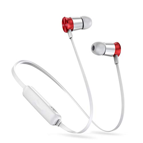 Neckband Wireless Bluetooth Headphone Earphone Fone De Ouvido Sports Headset Stereo Auriculares Earbuds Earpiece Silver and Red