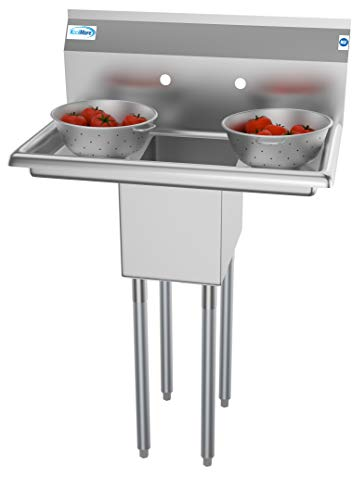 (KoolMore 1 Compartment Stainless Steel NSF Commercial Kitchen Prep & Utility Sink with 2 Drainboards - Bowl Size 10