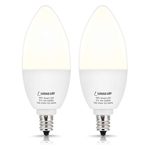 LOHAS E12 Smart LED Candelabra Bulb, Daylight 5000K Single Color WiFi Controlled LED Light Bulb, 4w 50w Equivalent Dim with APP, Compatible with Alexa Google Assistant for Chandelier Lighting, 2 Pack