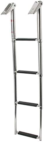 NovelBee 4 Step Boat Boarding Ladder Stainless Steel Telescoping Extendable Ladder with Retaining Strap for Ma
