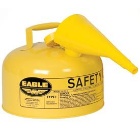 Gallon Eagle Type 2 (Eagle UI-20-FSY Type I Metal Safety Can with F-15 Funnel, Diesel, 11-1/4