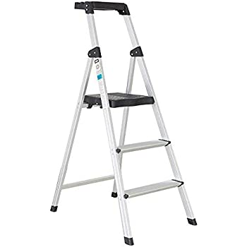 Livebest 3 Step Ladder With Tray Folding Step Stool Light