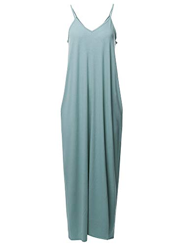 Casual Premium Adjustable Strap Side Pockets Loose Long Maxi Dress Blue Grey XL